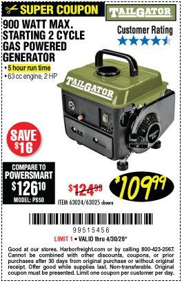 Tailgator 900 Watt Max Starting 2 Cycle Gas Powered Generator For 109 99 In 2020 Power Generator Gas Powered Generator Harbor Freight Tools
