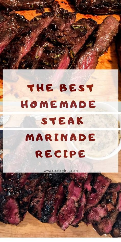 This steak marinade for this steak includes soy sauce, Worcestershire sauce, garlic, lemon juice, olive oil and dried herbs. Mixed together these ingredients are perfect. Homemade Steak Marinade, Steak Tip Marinade, Sirloin Steak Recipes, Grilled Steak Recipes, Marinated Steak, Beef Recipes, Cooking Recipes, Steak Tips, Steak Tenderizer Marinade