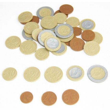 Set De 40 Pieces Euros En Plastique Monnaie De Jeux Realiste Piece Euro Piece De Monnaie Monnaie