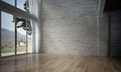 The Interior Design Of Empty Room And Living Room And Brick Wall Texture 3d Rendering New Empty Rooms Interior Living Room Empty Interior Design Living Room