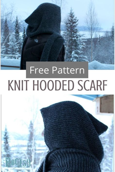 Great for beginners and long time knitters alike! Enjoy this free pattern for a knit hooded scarf by Rootsy. Knitting Patterns Free, Free Pattern, Hood Pattern, Loom Knitting, Free Knitting, Crochet Patterns, Start Knitting, Scarf Patterns, Free Scarf Knitting Patterns
