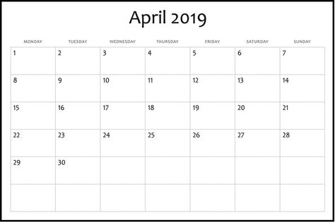 Monthly Blank Calendar April 2019 Printable Template Calendar