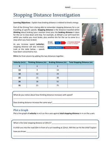 Stopping Distance & Kinetic Energy Worksheet   Science ...