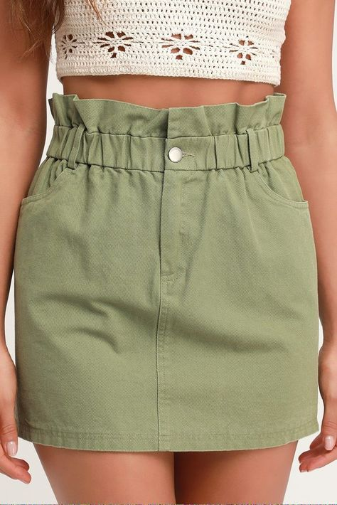 Spring into style with the Lulus Genie Olive Green Paper Bag Waist Denim Mini Skirt! Light denim falls from an elasticized paper bag waist into a mini skirt.