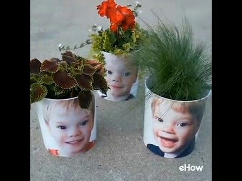 One-of-a-kind photo planters, ideal projects for children to help make and for families to share as gifts.
