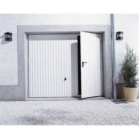 Porte De Garage Manuelle Debordante Avec Portillon A Gauche H 200 X L 237 Cm Porte Garage Porte De Garage Basculante Et Portillon