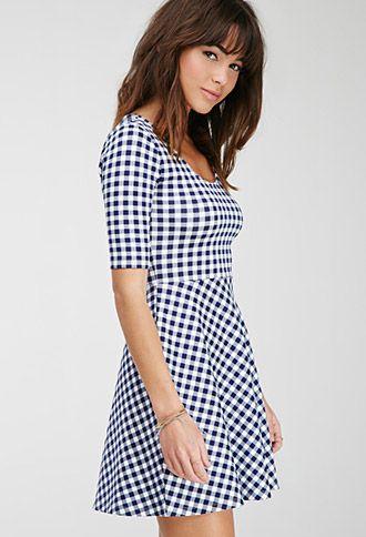 fd1fe3f0031 Gingham Print Skater Dress