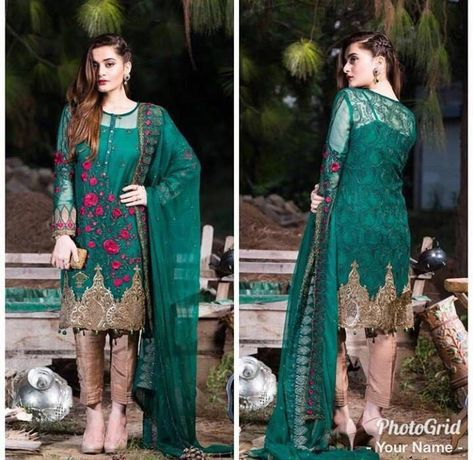 Pakistani Indian Dresses by Imrozia in Dark Bottle Green Color Online at Nameera by Farooq
