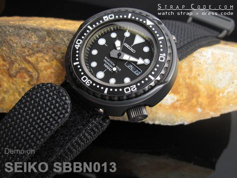 Seiko Tuna Marine Master SBBN013 1000m on 22mm MiLTAT Honeycomb Black Nylon Velcro Fastener Watch Strap, PVD Black Buckle [22B22DBR01N9A15]