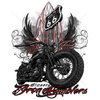 /& Old schooldruck modèle vintage Motorcycles T shirt en rouge Biker- Chopper
