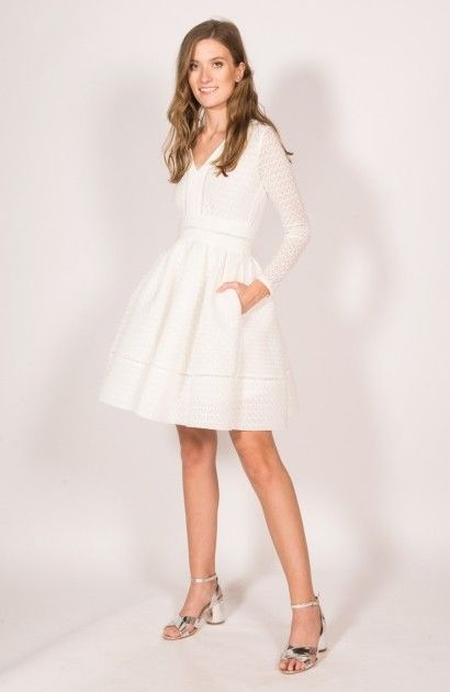 Robe blanche coupe patineuse en dentelle Rossignol Maje
