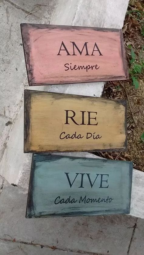Cuadros Carteles Vintage Madera Palabras Frases Frases