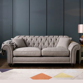 Bordeaux Button Back 3 Seater Grey Fabric Sofa With 2 Accent