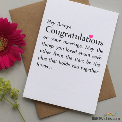 Congratulations Wedding Wishes With Name Writing Option Ramya
