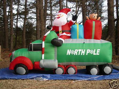 New 9' Long Lighted Christmas Santa 18 Wheeler Truck Airblown Inflatable Blow Up | eBay