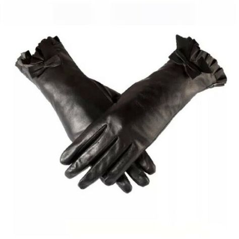 Black Quilted Leather Cashmere Lined The Ashley Bow Luxury Women/'s Gloves D67