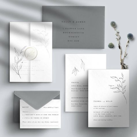 Are you interested in our grey wedding invitation? With our modern calligraphy wedding invitation you need look no further.