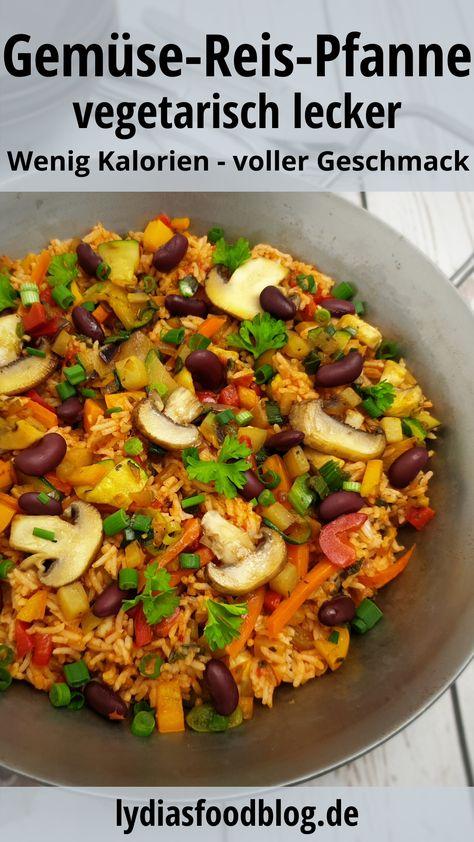 Eine schnelle und einfache Reis-Pfanne mit viel Gemüse und Reis. Schnell gemacht, gesund und lecker. Vegetarisch und köstlich kochen in 20 Minuten. Passt auch zu Fisch und Fleisch. #reis #gemüse #vegetarisch #einfach #kochen #rezepte #lydiasfoodblog #vegan #schnell