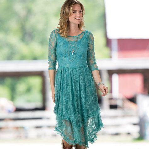 9a21fe940e6 Dusty Turquoise Fields Lace Dress