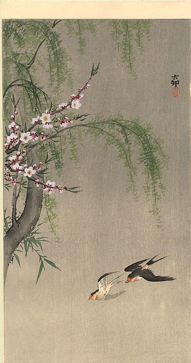 Japanese Reproduction Woodblock Print 20 Ohara Koson on Cream Parchment Paper