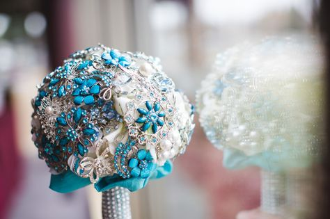 blue and white brooch wedding bouquet