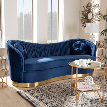 Baxton Studio Nevena Glam Royal Blue Velvet Fabric Upholstered Gold Finished Sofa Walmart Com Blue Furniture Living Room Blue Living Room Velvet Sofa Living Room