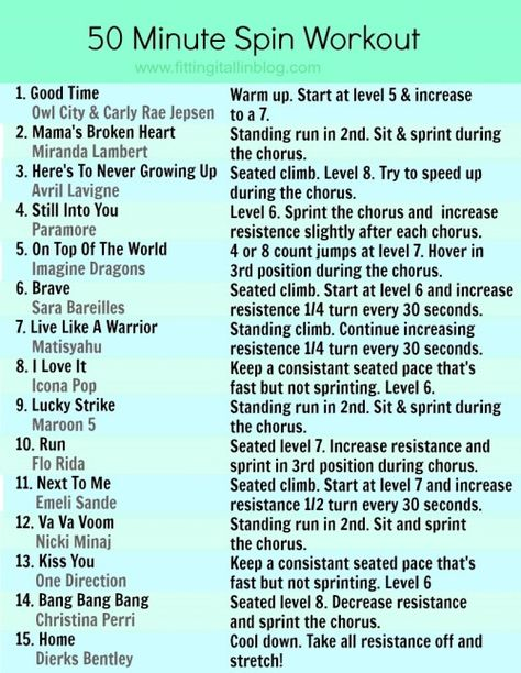 50 Minute Spin Workout with a great playlist! Easy to do on your own.   #spin #workout #bike #fitfluential