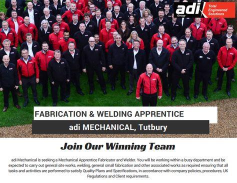 Fabrication & Welding Apprentice - adi Mechanical, Tutbury  Download the full job spec here:  http://adiltd.co.uk/wp-content/uploads/2016/09/Ref-107-Mechanical-Fabricator-and-Welder-Apprentice-Tutbury.pdf  Or apply online here: http://adiltd.co.uk/careers/vacancies/page/6/