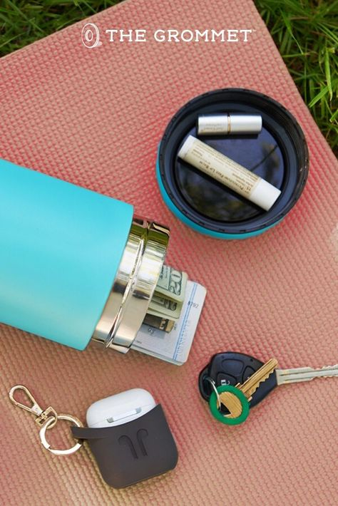Take everything you need for a hike, run, or day at the beach with this storage water bottle. With compartments for water and to store everything you need, this water bottle is a homerun.