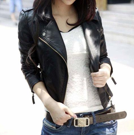 C/&H Womens All-Match Faux Leather Moto Slim Coat Jacket