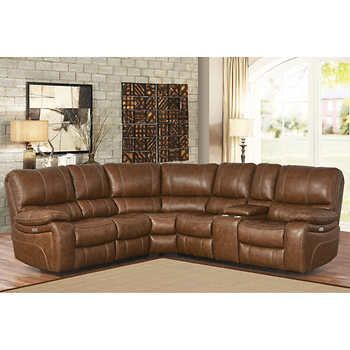 Braymor 3 Piece Top Grain Leather Power Reclining Sectional 3699