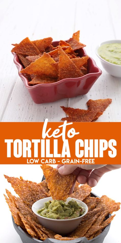 Craving crunchy snacks on your health low carb diet? Well try these easy keto tortilla chips on for size. Truly crunchy and crisp, and they hold up to all your favorite dips. Perfect for scooping up guacamole! #ketosnacks #tortillachips #easyketo #ketodiet