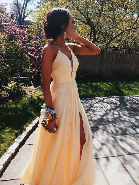 Yellow Prom Dress with Slit, Prom Dresses, Pageant Dress, Evening Dress, Ball Dance Dresses, Graduation School Party Gown, DT0658 - 6 / As first photo