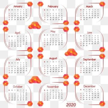التقويم 2020 كرمة 2020 التقويم التقويم ديسمبر يوم التقويم 2020 Png صورة للتحميل مجانا Print Design Template Flower Frame Illustration Calendar
