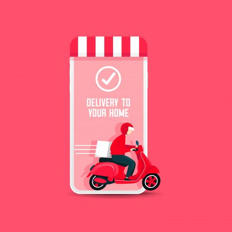 Delivery Man Riding A Scooter Out Of The Phone