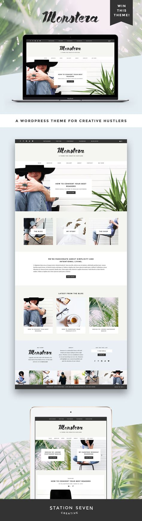 GIVEAWAY! If you've been thinking about sprucing up your blog or web design, there's no time like the present. Simply follow us @creativesintran and repin this pin for a chance to win a free download of our new Monstera WordPress theme! Giveaway ends 4/8/2016 :)