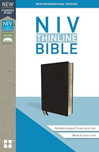 Niv Thinline Bible Bonded Leather Black Red Letter Edition