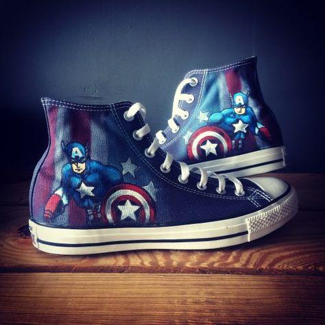 Captain America Shield Converse Shoes   Blue shoes, Converse