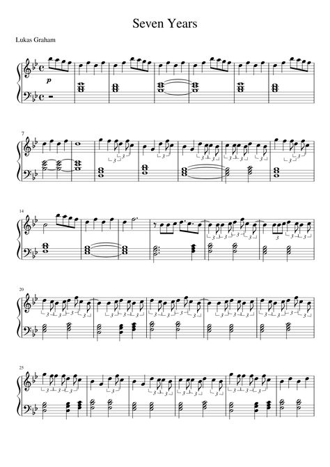 Lukas Graham — Seven Years Free Piano Sheets in pdf and midi