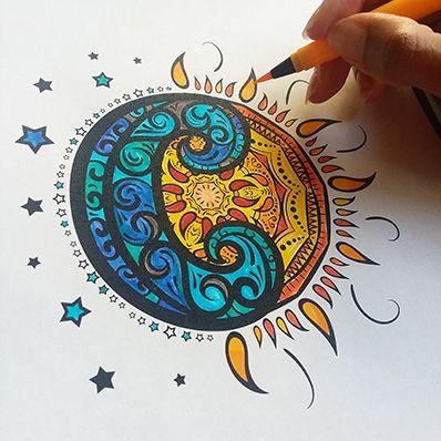 Printable Sun And Moon Mandala