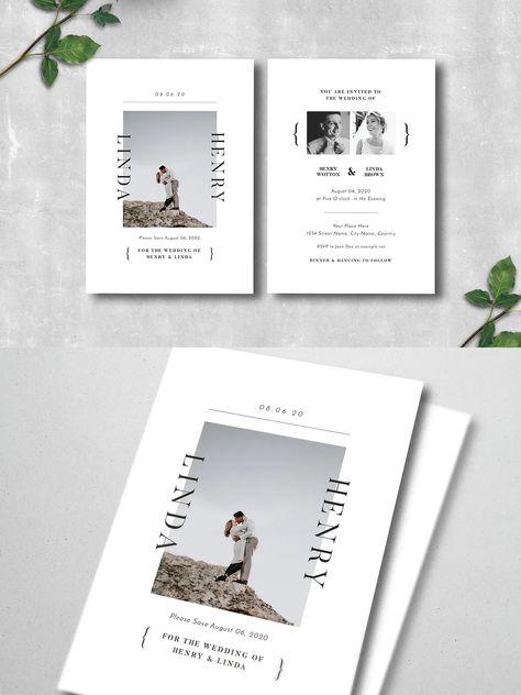 Simple Wedding Invitation Design AI, PSD