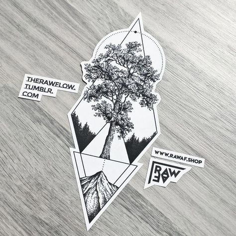 Dotwork geometric tree mountain tattoo design made for A. Parmelan - commissions: rawaf.shop/commissions #coolgeometrictattos