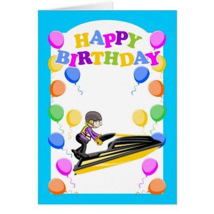 Happy Birthday Jet Ski Champion Card Zazzle Com With Images