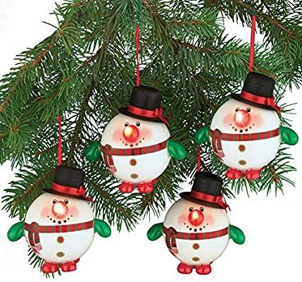 Amazon Com Collections Etc Lighted Snowman Christmas Tree Ornaments Set Of 4 Home Kitchen Christmas Light Ornament Snowman Christmas Tree Xmas Tree Lights