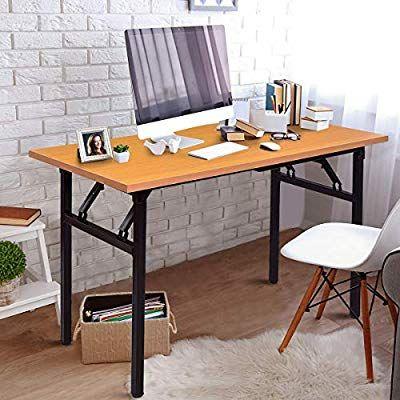Amazon Com Tangkula Folding Table Simple Metal Frame Computer Desk Modern Home Office Laptop Pc Modern Home Office Table For Small Space Modern Computer Desk