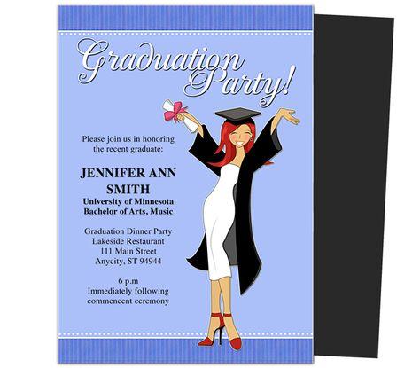 Graduation Party Invitations Templates: Commencement Graduation Party Announcement Template