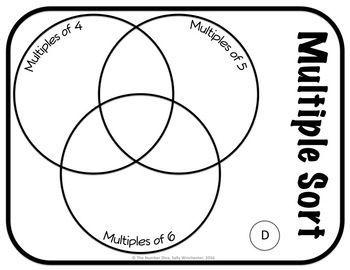 Common Multiple Game Lcm Venn Diagram Sorting Game Common Core Math Standards Math Math Centers