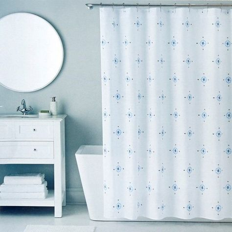 Izod Compass Nautical Blue Shower Curtain With 12 Piece Metal Roller Hook Set Izod Nautical Blue Shower Curtains