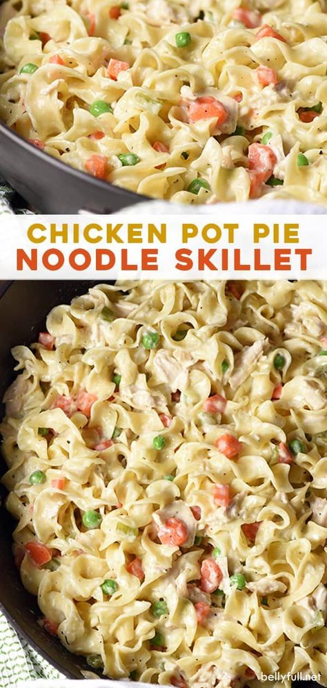 This Chicken Pot Pie Noodle Skillet recipe is classic chicken pot pie transformed into a skillet dish with noodles instead of a crust. Easy delicious weeknight meal the whole family will love, even those picky eaters! for dinner for two main dishes Chicken Skillet Recipes, Easy Skillet Meals, Chicken Pot Pie With Noodles Recipe, Easy Pot Pie Recipe, Chicken Recipes Dinner, Skillet Chicken Pot Pie Recipe, Recipe Using Leftover Chicken, Easy Chicken And Noodles, Chicken Pot Pie Crust