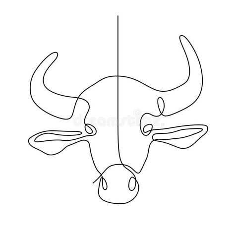 Cow one line drawing stock vector. Illustration of creative - 97584435
